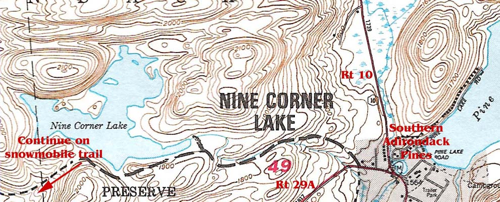 Nine Corner Lake Trail Map